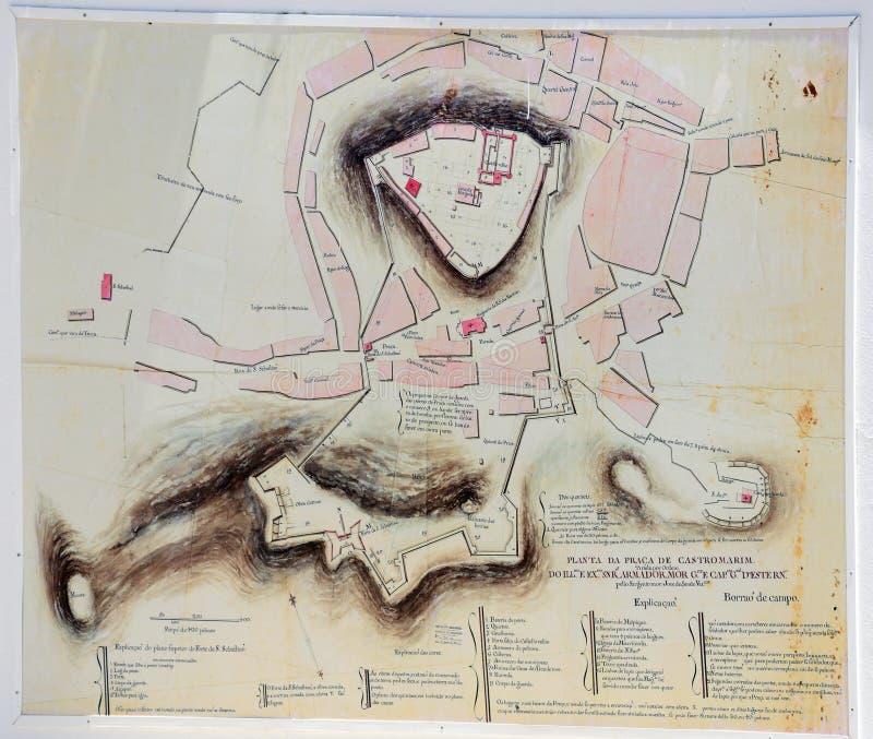 Viejo plan de ciudad, Castro Marim imagen de archivo