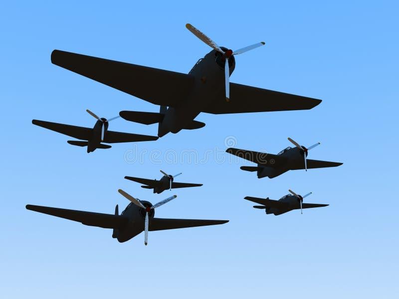 Viejo plano de la Segunda Guerra Mundial stock de ilustración