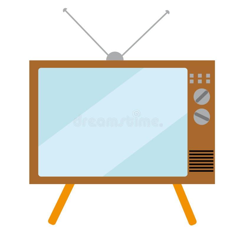 Viejo, rectangular, retro, vintage, inconformista TV con una pantalla convexa del cinescopio en un fondo blanco ilustración del vector