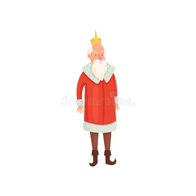Viejo rey real lindo con la barba blanca y la capa roja ilustración del vector