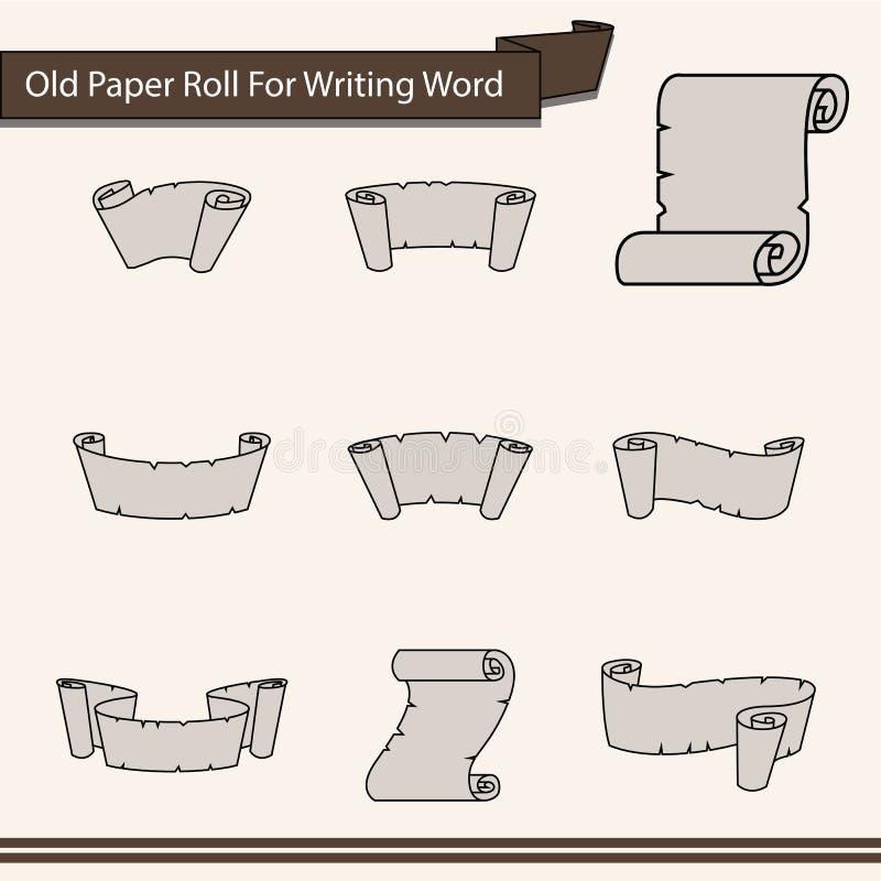 Viejo rollo de papel para escribir el icono de la palabra - vector ilustración del vector