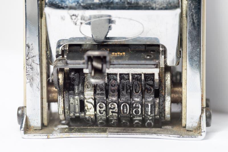 Viejo sello de fecha fotografía de archivo