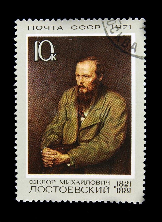 Viejo sello ruso con Fyodor Dostoyevsky fotos de archivo