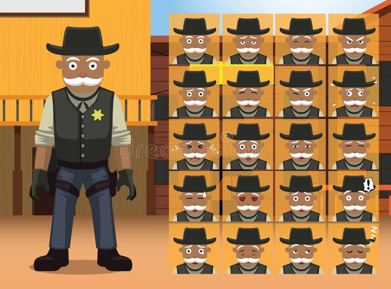 Viejo sheriff occidental Cartoon Character Emotions stock de ilustración