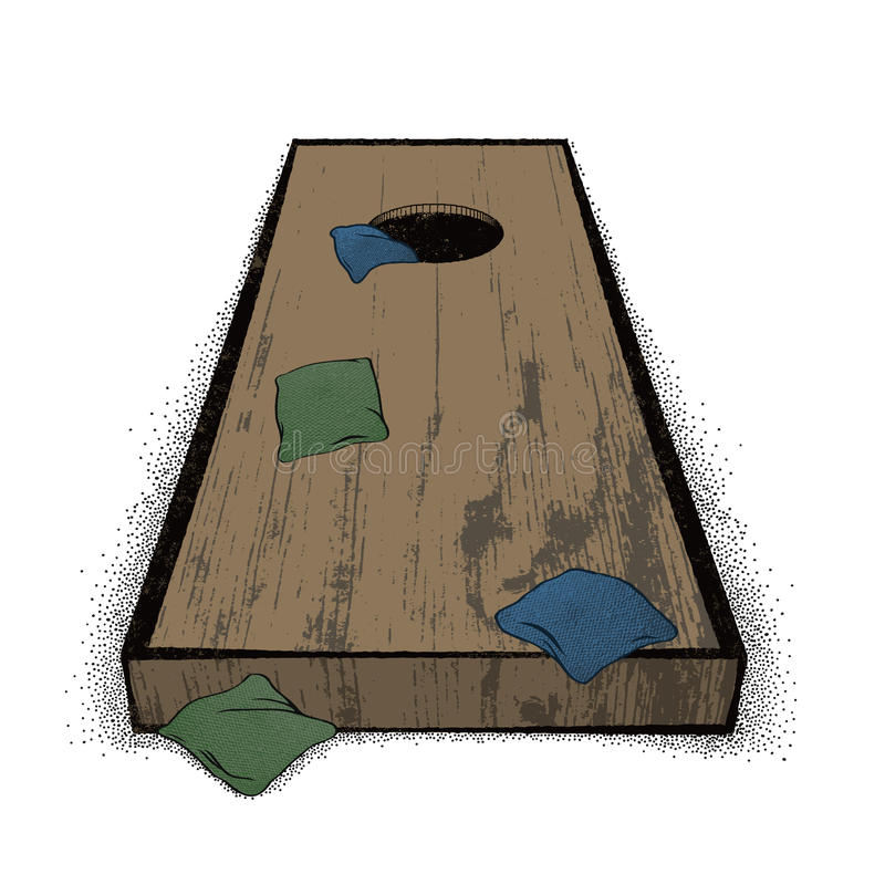 Viejo sistema de Cornhole stock de ilustración