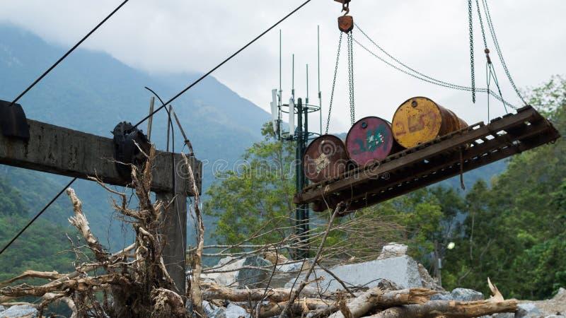 Viejo sistema de transporte del cable en Taiwán imagenes de archivo