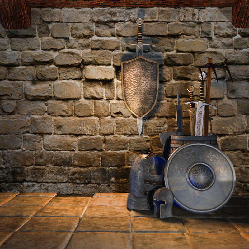 Armas medievales ilustración del vector