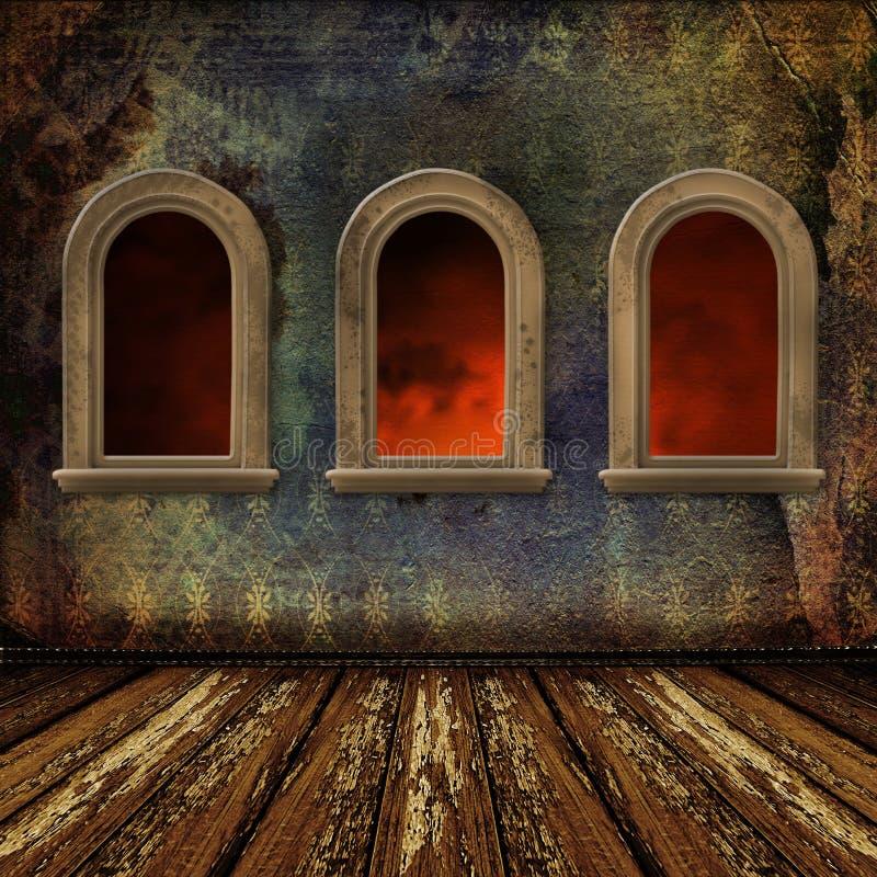 Viejo sitio, interior del grunge con las ventanas ilustración del vector