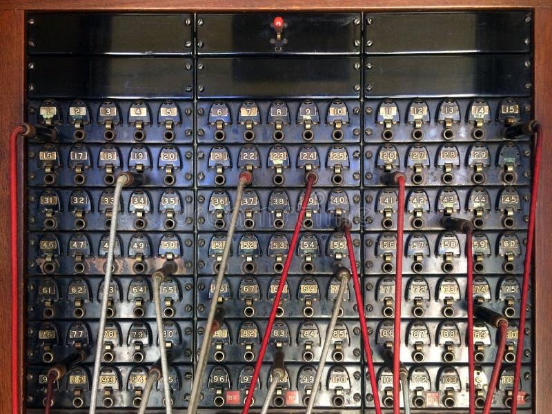 Viejo tablero de interruptor del teléfono fotografía de archivo