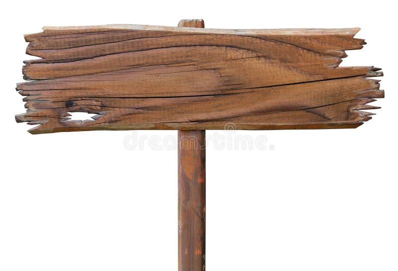 Viejo tablero de madera de la señal de tráfico Placa de madera aislada imagen de archivo