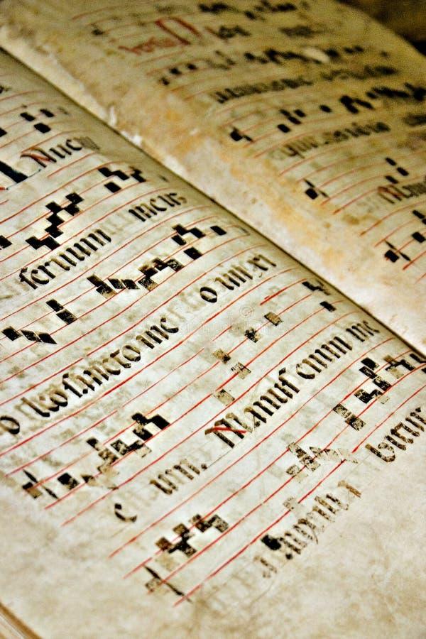 Viejo texto gregoriano foto de archivo