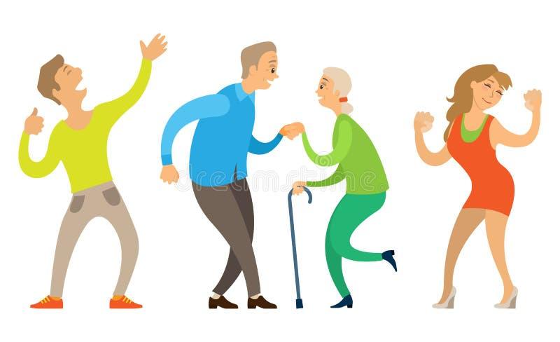 Viejo vector de baile de los pares, joven y mayor de la gente libre illustration