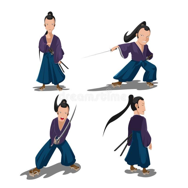 Viejo vector del personaje de dibujos animados del samurai de Japón stock de ilustración