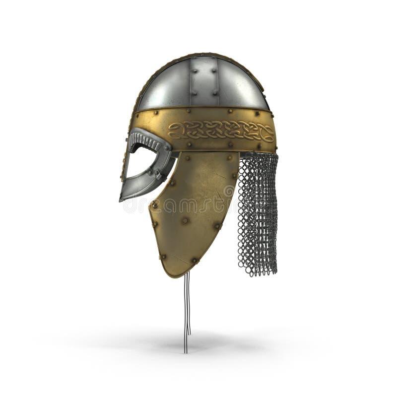Viejo Viking Helmet en blanco Vista lateral ilustración 3D ilustración del vector