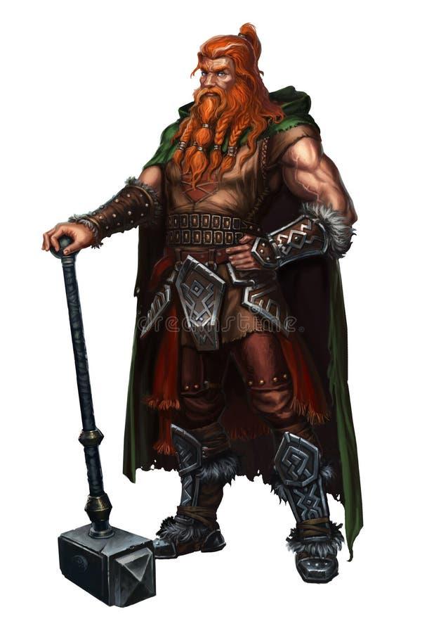Viejo vikingo en blanco un ambidextro stock de ilustración