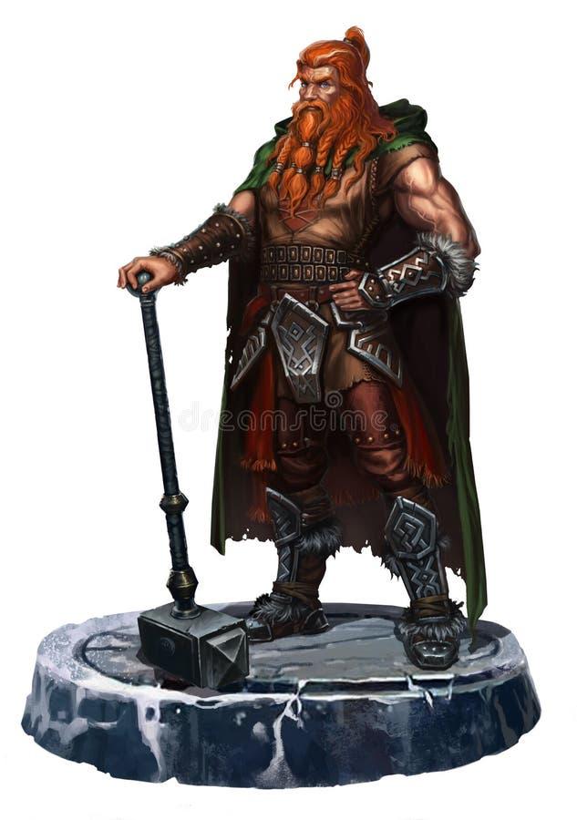 Viejo vikingo en blanco un ambidextro ilustración del vector