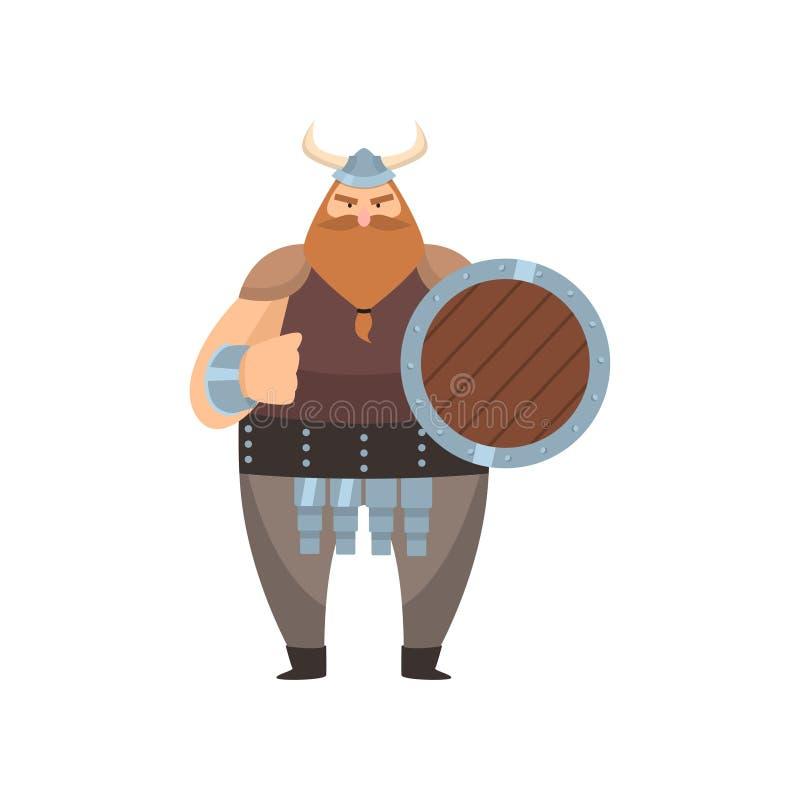 Viejo vikingo rojo-barbudo se coloca con el escudo y amenaza con el puño sobre el fondo blanco ilustración del vector