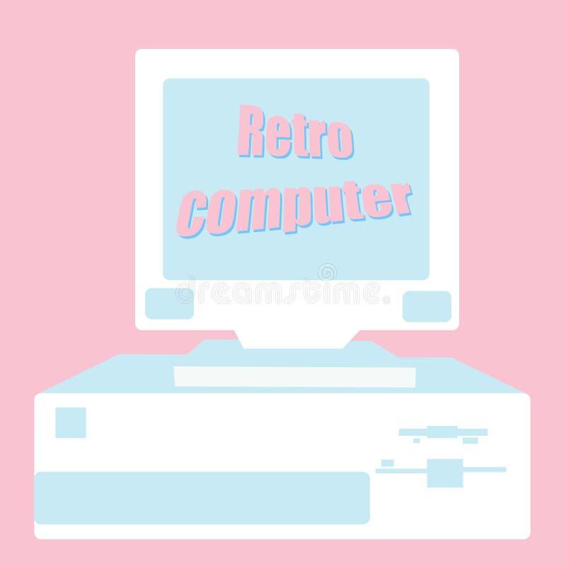 Viejo vintage antiguo retro del inconformista con un monitor ondulado de la pantalla, un ordenador antiguo para los juegos con un stock de ilustración