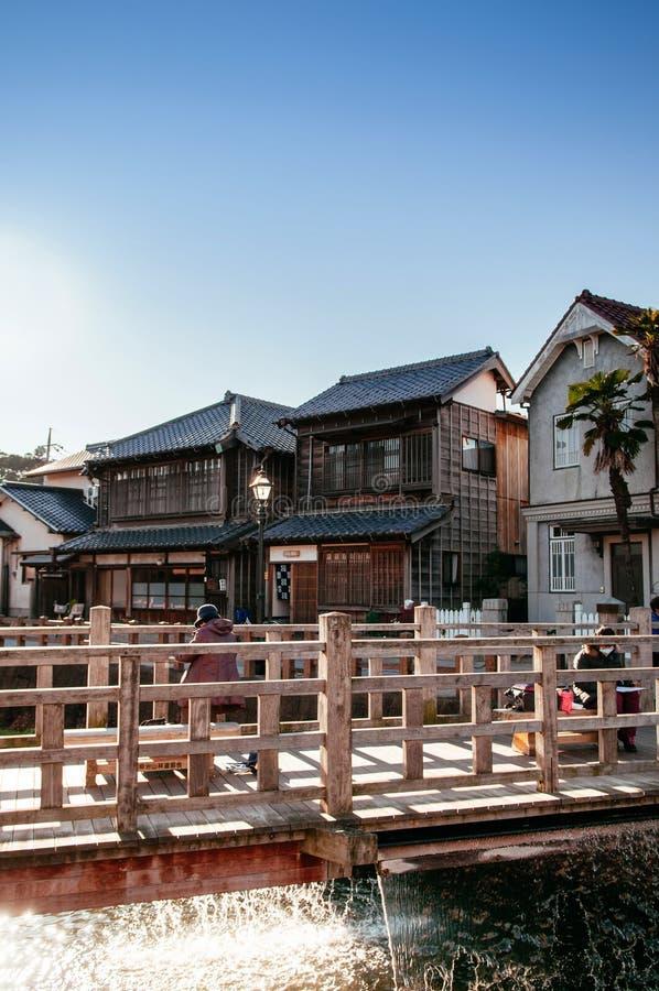 Viejo vintage Ja Ja o puente de Toyohashi en Sawara, Katori, Chiba foto de archivo libre de regalías