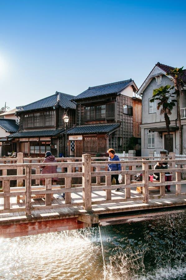 Viejo vintage Ja Ja o puente de Toyohashi en Sawara, Katori, Chiba imagenes de archivo