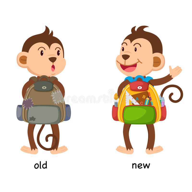Viejo y nuevo ejemplo opuesto ilustración del vector