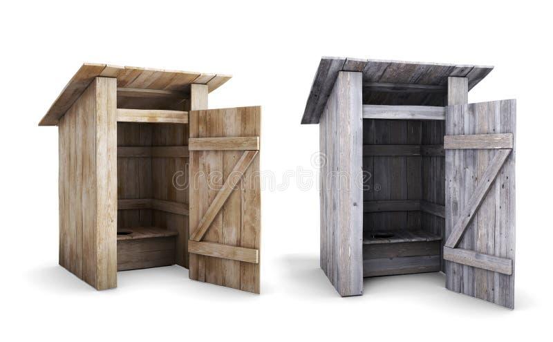 Viejo y nuevo retrete al aire libre de madera con la puerta abierta libre illustration