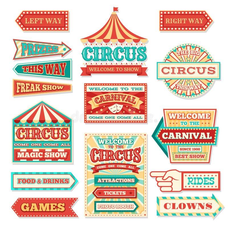 Viejos banderas del circo del carnaval y sistema del vector de las etiquetas del carnaval stock de ilustración