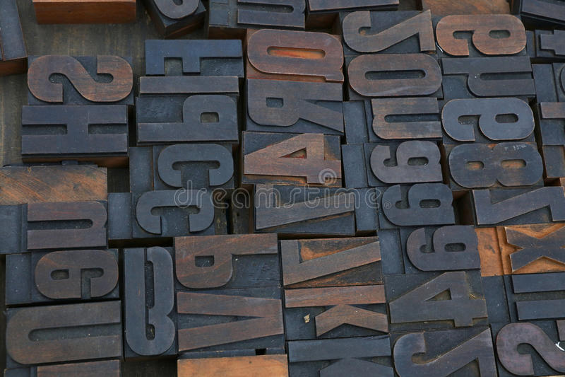 Viejos bloques de impresión de madera de la tipografía del vintage imagen de archivo libre de regalías