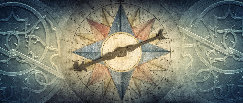 Viejos compás y astrolabio - dispositivo astronómico antiguo en fondo del vintage Viejo fondo conceptual del extracto en historia libre illustration