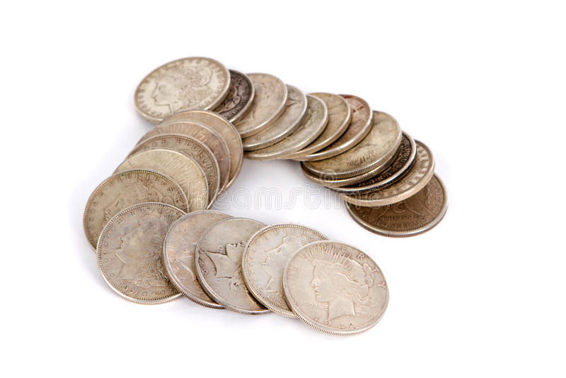 Viejos dólares de plata imagenes de archivo