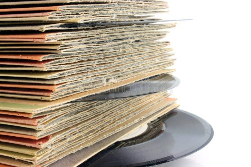 Viejos expedientes de vinilo fotografía de archivo libre de regalías