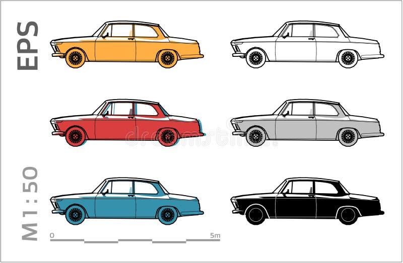 Viejos iconos retros del vector del coche fijados para el dibujo y el illustation arquitect?nicos ilustración del vector