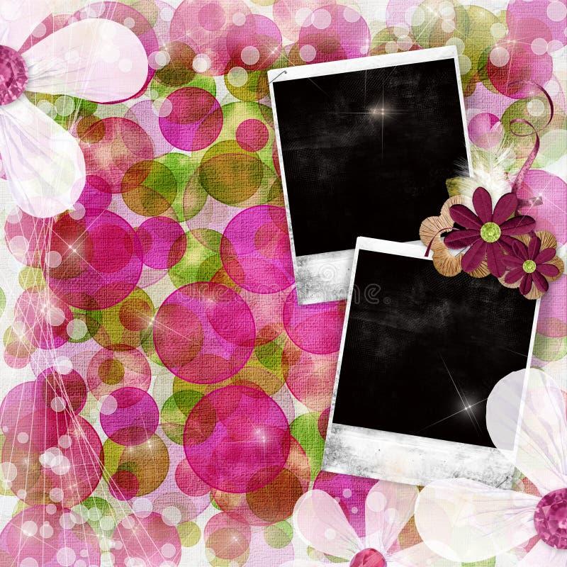 Viejos marcos de la foto sobre backgound verde y rosado libre illustration