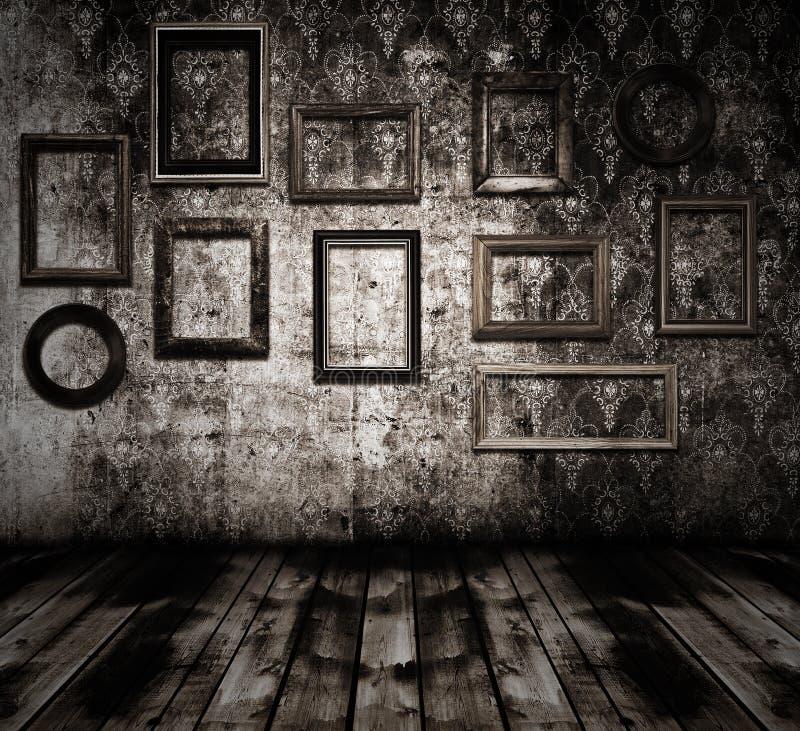 Viejos marcos de madera interiores foto de archivo libre de regalías