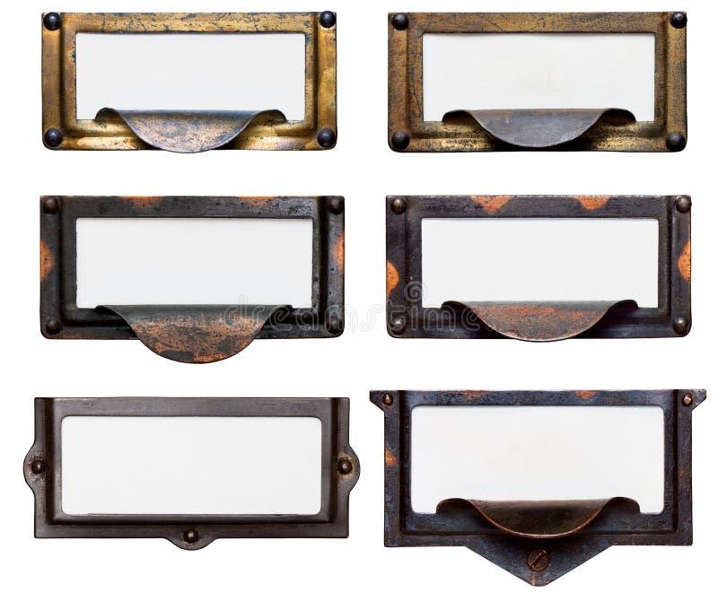 Viejos marcos del cajón de fichero con las escrituras de la etiqueta en blanco foto de archivo