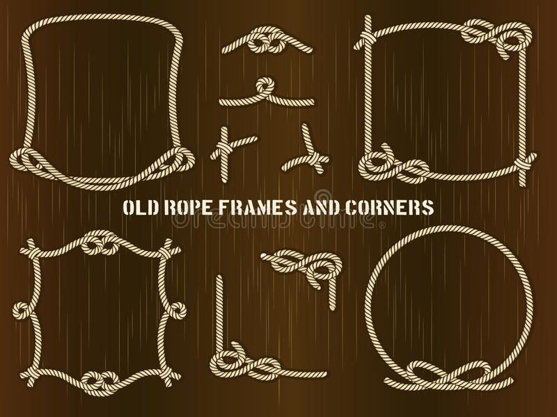 Viejos marcos y esquinas de la cuerda en el fondo de Brown stock de ilustración
