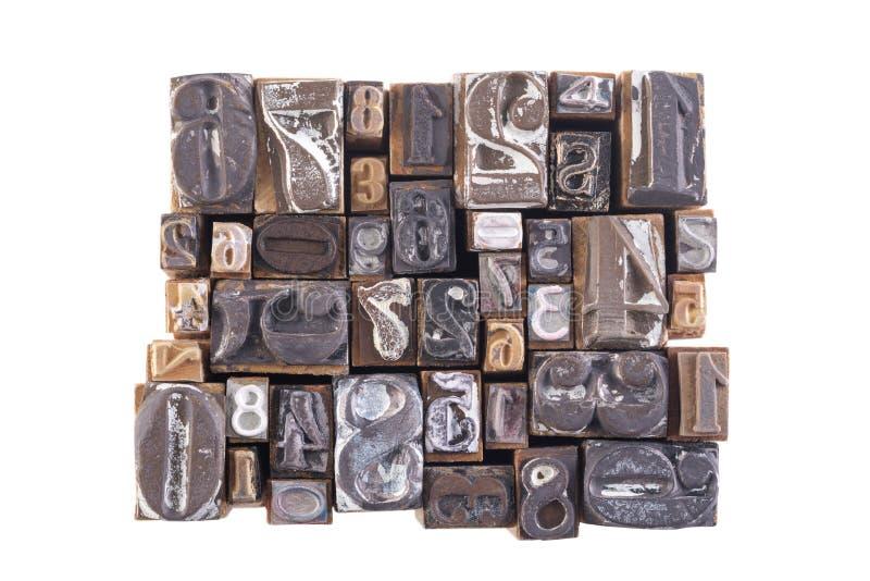 Viejos números de bloque de madera foto de archivo