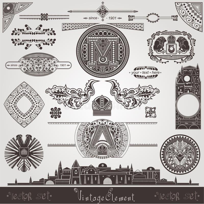 Viejos objetos del libro viejo del elemento del vintage de la ciudad fijados libre illustration