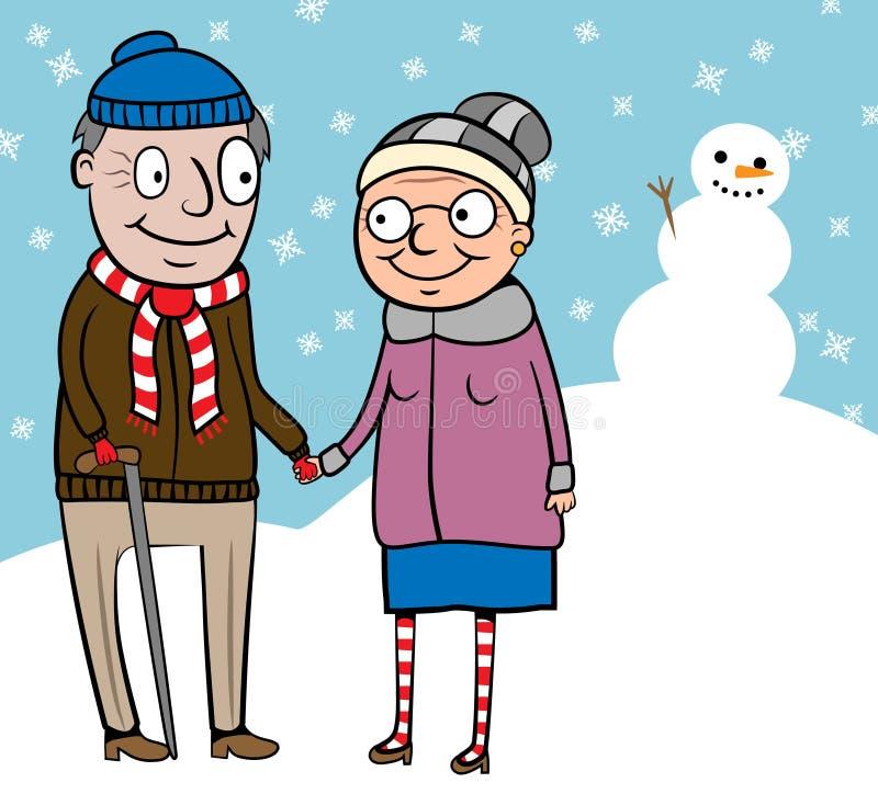 Viejos pares activos felices en caminata en invierno ilustración del vector