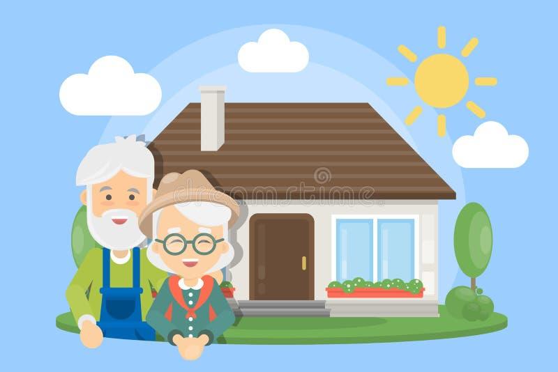 Viejos pares con la casa stock de ilustración