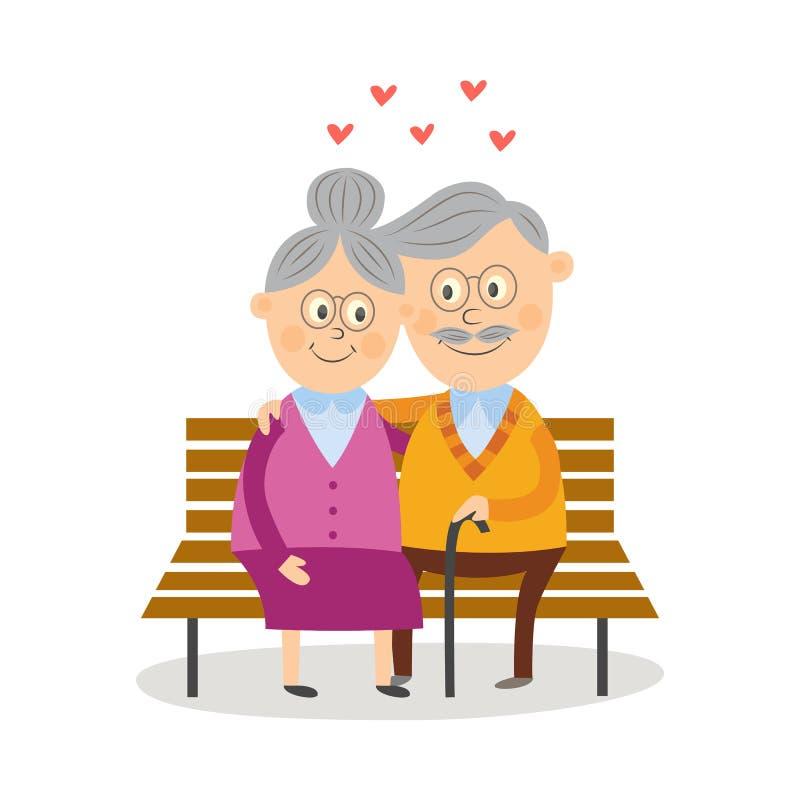 Viejos pares divertidos que se sientan junto en banco de parque libre illustration