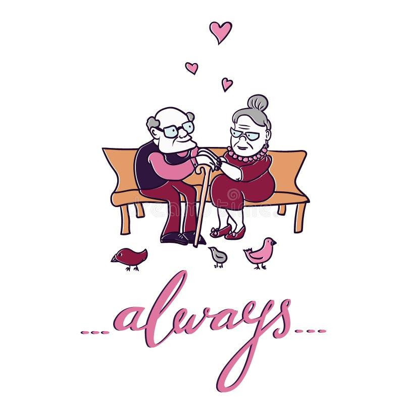 Viejos pares en amor Corazón verde estilizado de la ilustración del vector libre illustration