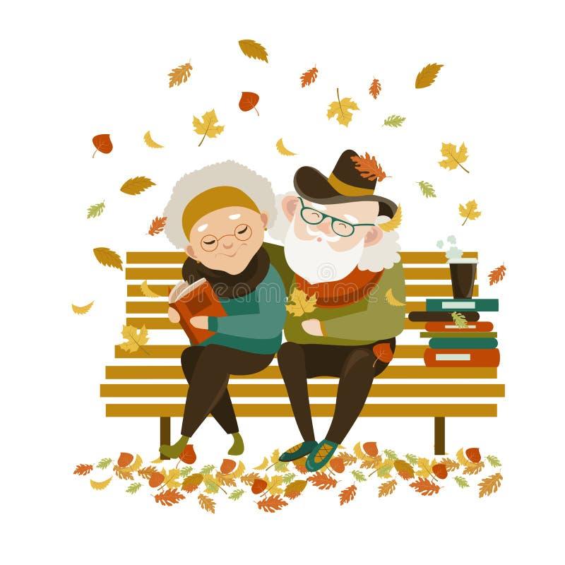 Viejos pares en el amor que se sienta en banco ilustración del vector