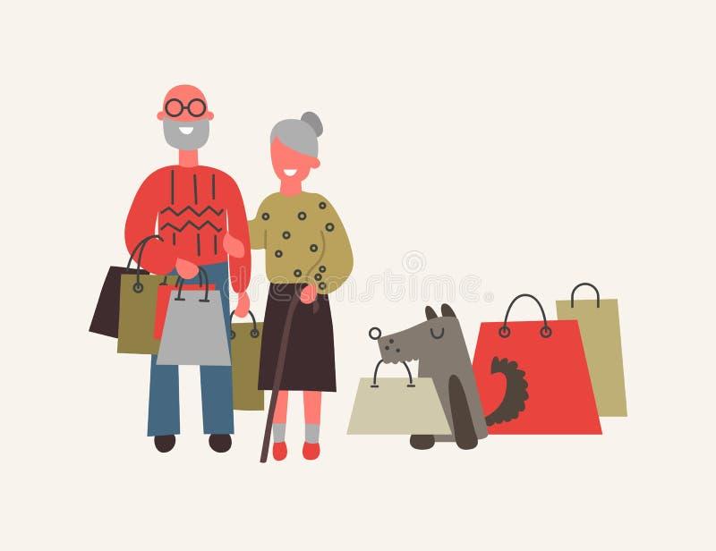 Viejos pares en el ejemplo del vector de los bolsos de compras del wuth de la tienda ilustración del vector