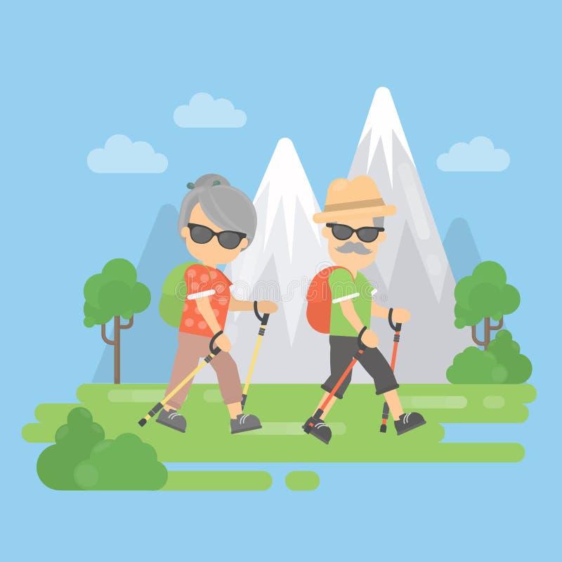 Viejos pares en montañas ilustración del vector