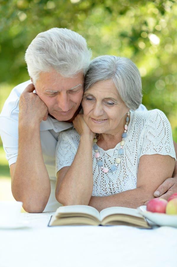 Viejos pares felices hermosos foto de archivo