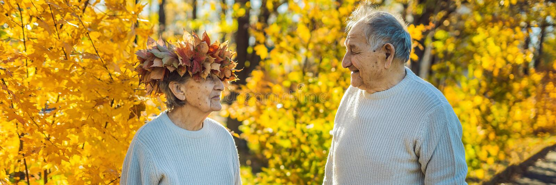 Viejos pares felices que se divierten en el parque del otoño Hombre mayor que lleva una guirnalda de las hojas de otoño a su BAND imagen de archivo