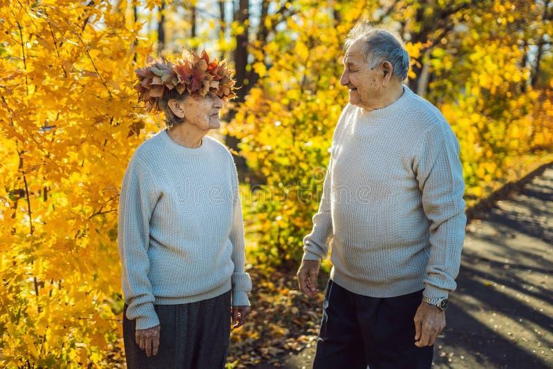 Viejos pares felices que se divierten en el parque del otoño Hombre mayor que lleva una guirnalda de las hojas de otoño a su espo foto de archivo
