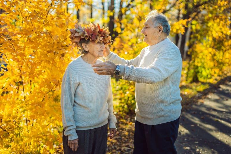 Viejos pares felices que se divierten en el parque del otoño Hombre mayor que lleva una guirnalda de las hojas de otoño a su espo fotos de archivo libres de regalías