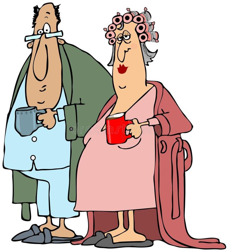 Viejos pares que comen su café de la mañana stock de ilustración
